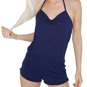 American Apparel Triblend shorts romper- navy